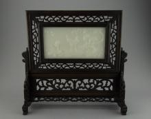 Chinese White Hardstone Screen Carved Cranes