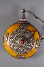 Chinese Silver Lined Yellow Snuff Bottle