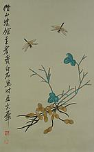 Chinese WC Dragonfly & Peanut Qi Baishi 1864-1957