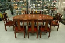 1940s Chinese Rosewood Dining Set 8 Chairs & Table