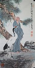Chinese WC Painting Man & Crane Fan Zeng 1938-