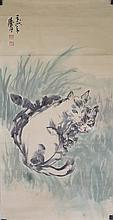 Chinese Watercolour Cats Painting Huang Zhou