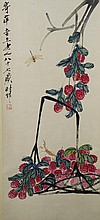 Chinese Watercolor Red Flowers Painting Qi Baishi