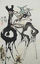 Chinese Painting of Deer Signed Cheng Shi Fa