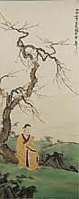 Painting of Man Under Prunus Tree Xie Zhi Liu