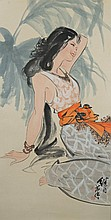 Chinese Painting of Lady Signed Liu Ji Lu