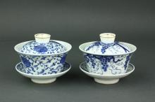 Pair Chinese BW Porcelain Covered Bowls Kangxi MK