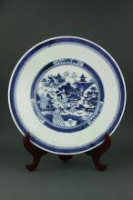 Chinese Export BW Porcelain Charger