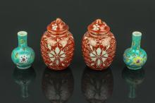 4 Pc Export Snuff Bottles & Small Porcelain Vases