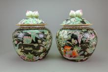 Pair Chinese Famille Verte Porcelain Jars w/Cover