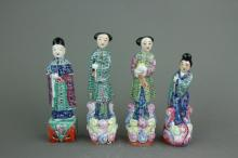 4 Pc Chinese Export Porcelain Figures