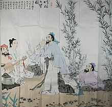 Chinese Painting 8 Immortals Signed Fan Zeng 1938-