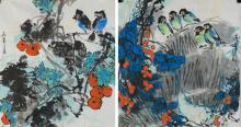 Two Paintings of Flowers & Birds Xiao Ying Signed