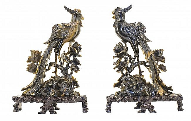 PAIR CHINESE CARVED TIGER'S EYE PHOENIX BIRDS