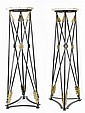PAIR REGENCY STYLE BRASS MOUNTED IRON PEDESTALS
