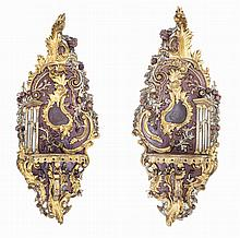 PAIR LOUIS XIV STYLE CARVED AND GILTWOOD WALL BRACKETS