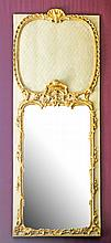 PAINTED AND GILT TRUMEAU STYLE MIRROR