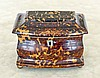 ENGLISH SILVER-INLAID TORTOISESHELL TEA CADDY
