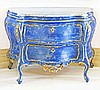 CARVED AND PAINTED ROCOCO STYLE BOMBAY COMMODE