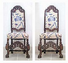 PAIR RENAISSANCE STYLE CARVED SIDE CHAIRS