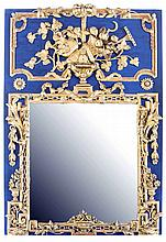 CONTINENTAL CARVED AND PAINTED TRUMEAU STYLE MIRROR