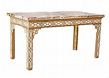 PAIR CARVED AND PAINTED GILTWOOD MARBLE TOP CONSOLE