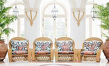 SET OF FOUR LARGE WICKER ARMCHAIRS