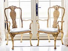 PAIR GEORGIAN STYLE CARVED GILTWOOD ARMCHAIRS