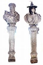 PAIR STONE BUSTS AND PEDESTALS