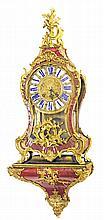 LOUIS XV ORMOLU RED HORN BRACKET CLOCK CROWNED C
