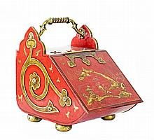 VICTORIAN PARCEL GILT RED JAPANNED TOLE COAL SKUTTLE