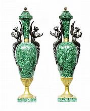 PAIR OF EMPIRE STYLE GILT BRONZE MOUNTED MALACHITE URNS