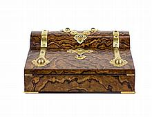 ENGLISH GILT-BRONZE, HARD STONE MOUNTED WALNUT LAP DESK
