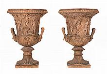 PAIR OF TERRACOTTA TWO HANDLED URNS, 18th/19th century