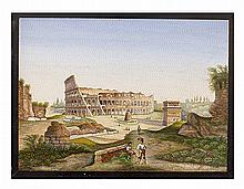FINE ITALIAN MICRO MOSAIC PLAQUE OF THE COLISEUM AND