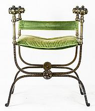 RENAISSANCE STYLE BRASS AND IRON CURULE CHAIR