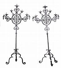 A PAIR OF BAROQUE STYLE FIVE-LIGHT WROUGHT IRON