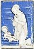 ITALIAN ëDELLA ROBIAí PAINTED TERRACOTTA PANEL OF MARY