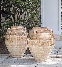 PAIR OF LARGE TERRACOTTA URNS