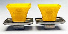 PAIR OF CHINESE PEKING YELLOW GLASS SQUARE CUPS
