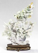 FINE CHINESE CARVED JADEITE FLORAL VASE AND COVER