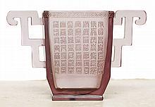 CHINESE DECO TRANSLUCENT PRESSED MAUVE GLASS VASE