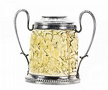 CONTINENTAL CARVED IVORY AND ENGLISH SILVER TANKARD AND