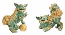 NO RESERVE PAIR PORCELAIN LIONS, CHINESE