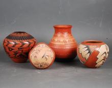 THREE JEMEZ AND A NAVAHO POTTERY VESSELS, SIGNED.