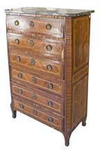 LOUIS XV/XVI BRONZE MOUNTED TALL CHEST OF DRAWERS