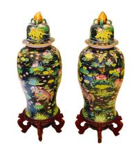 PAIR OF CHINESE FAMILLE NOIR PORCELAIN PALACE VASES