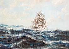 GRAHAM HEDGES, (BRITISH), 'FRIGATE AT SEA', 1975, O/C