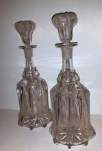 PR. ENGLISH BLOWN GLASS DECANTERS, W/STOPPERS, 19TH C