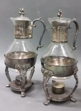 2 VICTORIAN SILVER PLATE MTD. GLASS DECANTERS ON STANDS